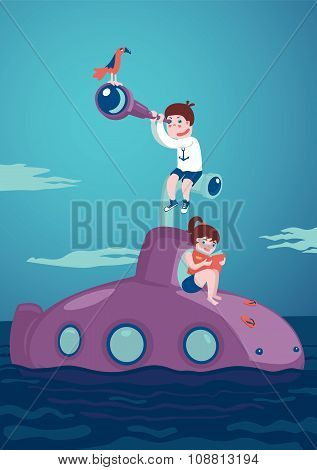 Girl and boy on submarine