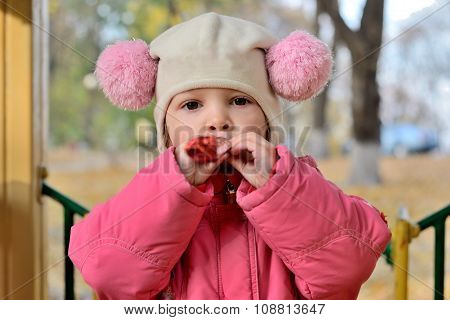 Portrait Of Baby Girl In A Hat With Pom-poms With A Toy