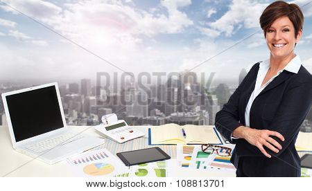 Business woman in modern office. Accounting and financial concept.
