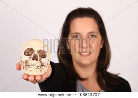 child holding skull