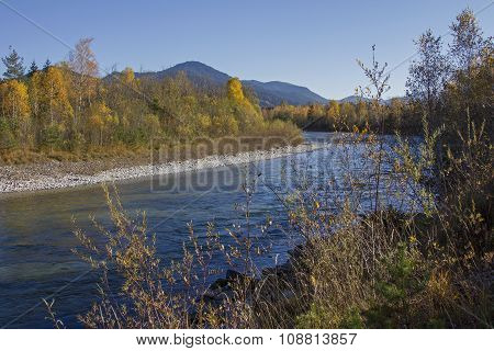 Isar River Bend And Bright Autumnal Riverside