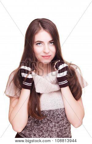 Woman On White Background In Fingerless Gloves