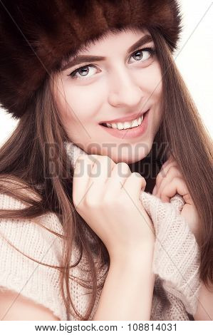 Smiling Woman In Russian Type Hat