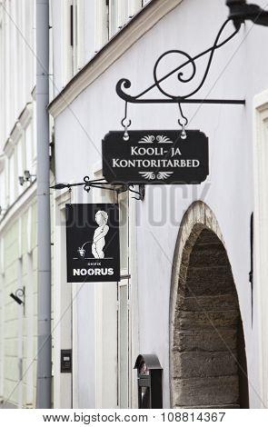 TALLINN ESTONIA- JUNE 16: Coffee house sign in the Old city on June 16 2012 in Tallinn Estonia