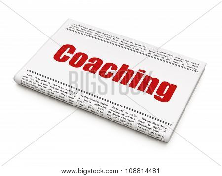 Learning concept: newspaper headline Coaching
