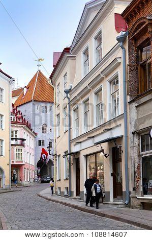 TALLINN ESTONIA- JUNE 16: Tourists on the street of the Old city on June 16 2012 in Tallinn Estonia
