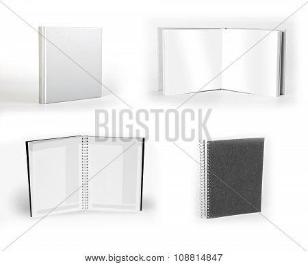 Set Of Notebooks Isolated On White Background