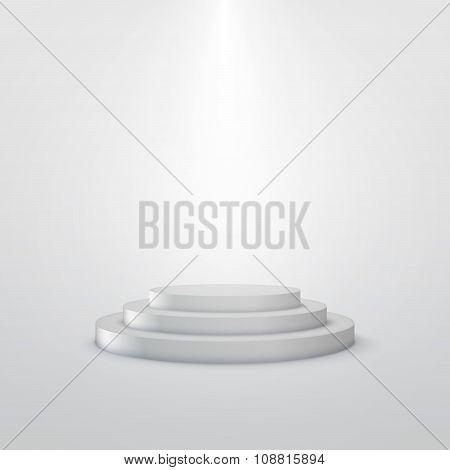 empty white stage podium.