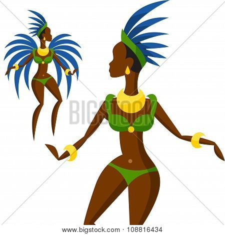 Illustration of brazilian carnival girl dansing samba