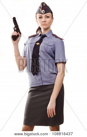 Russian Woman Police Officer With Gun