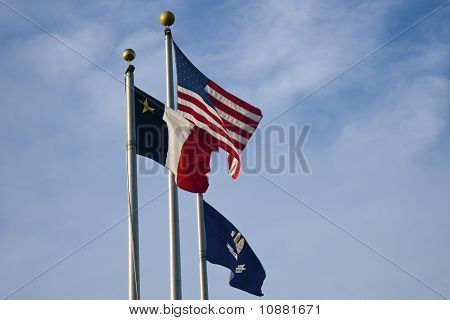 Us, Louisiana And Baton Rouge Flags