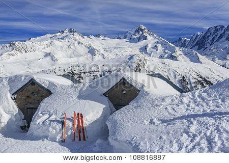 Snowy alpine scenery