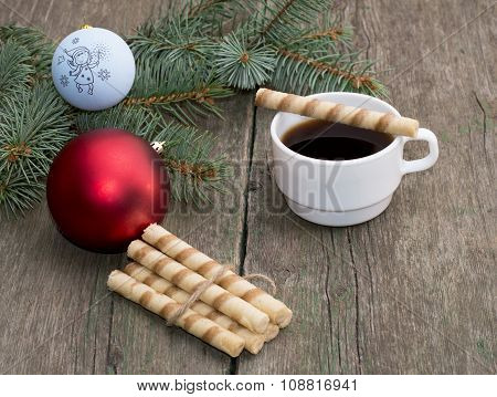 Coniferous Branch, Linking Of Cookies And Coffee