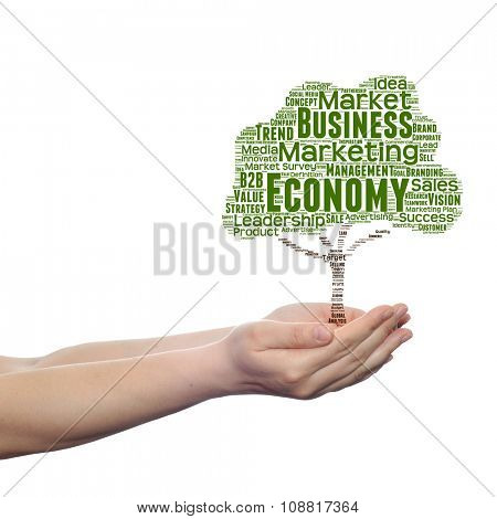 Concept or conceptual green tree business or marketing word cloud tagcloud in man or woman hand isolated on white background