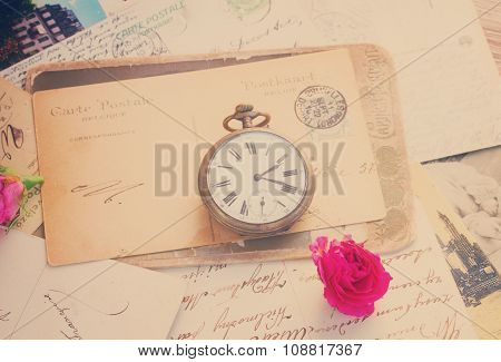 old letter  with  old clock
