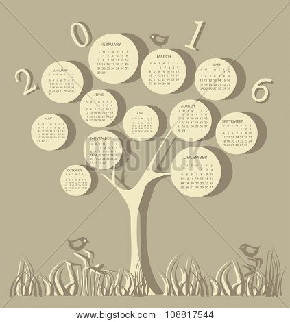 Tree shape calendar for 2016