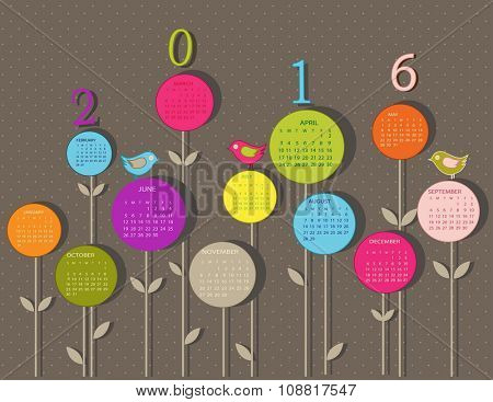 Calendar for 2016 year with flowers