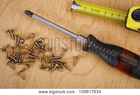 Screws and screwdriver