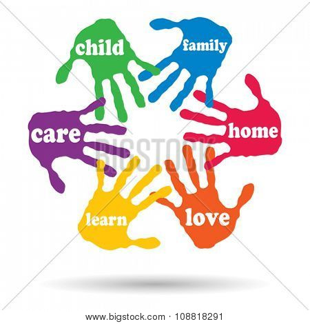 Vector concept or conceptual circle of colorful hand print word cloud text made by children isolated, white background
