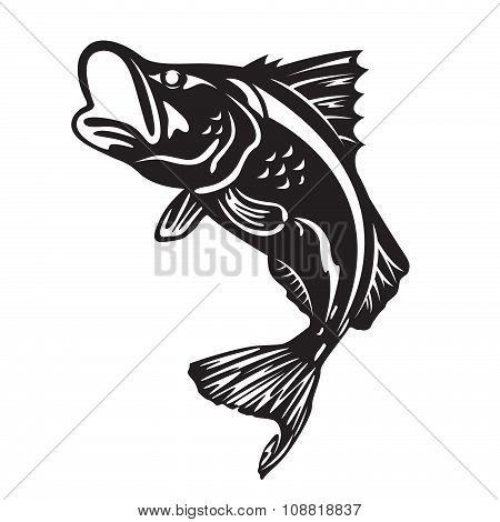 The Barramundi fish jump vector art design