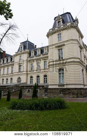 Lviv, Ukraine, 24 May 2015: Old stone gothic Pototskih castle palace king residence