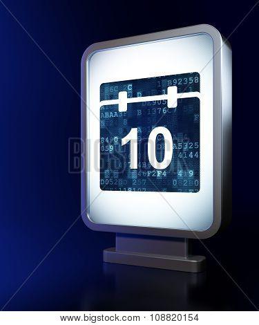 Timeline concept: Calendar on billboard background