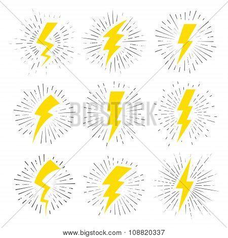 Vintage Lightning Bolt Signs.
