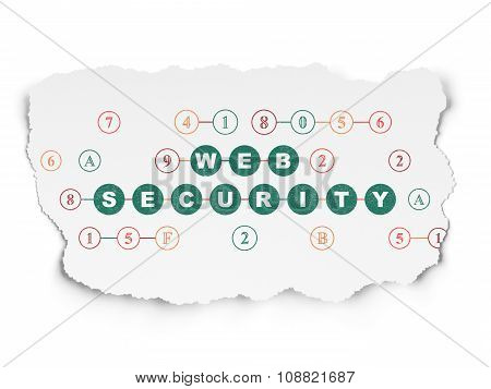 Web development concept: Web Security on Torn Paper background