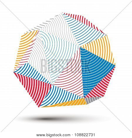 3D Contemporary Style Abstract Stripy Object, Cybernetic Futuristic Vector Form. Technology Idea.
