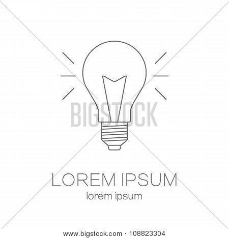 Modern line style vector logo collection with light bulb isolated