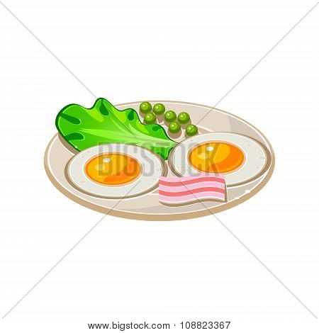 Cartoon Breakfast with Bacon, Fried Eggs and Lettuce. Vector Illustration