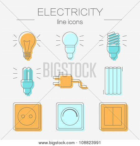 Vector set of electricity icons, including tools.