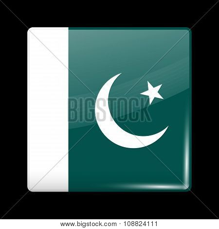 Flag Of Pakistan. Glassy Icon Square Shape