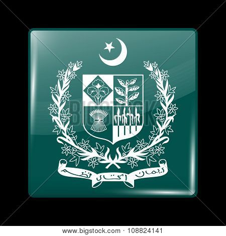Emblem Of Pakistan. Glassy Icon Square Shape