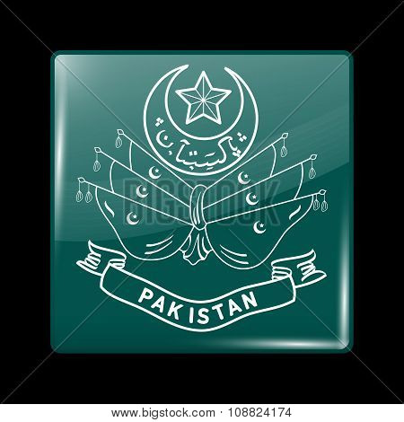 Old Emblem Of Pakistan. Glassy Icon Square Shape