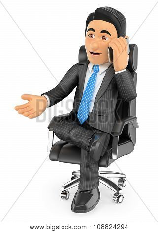 3D Businessman Sitting In His Chair Speaking By Mobile Phone