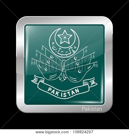 Old Emblem Of Pakistan. Metallic Icon Square Shape