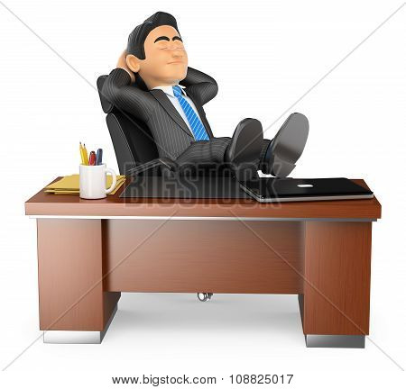 3D Businessman Resting In Office