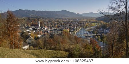 View From Calvary Hill To Spa Town Bad Tolz In Autumn