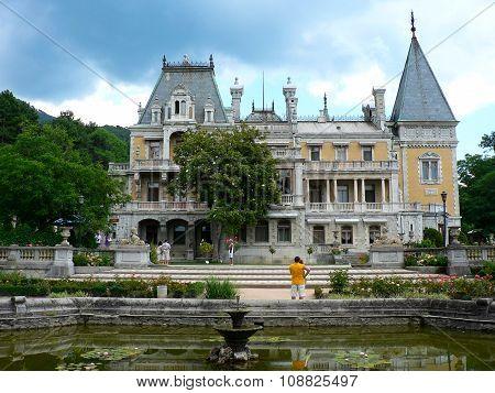 Alushta, Crimea, Ukraine, 15 August 2010: Old stone gothic castle Massandra palace king residence