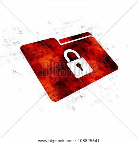 Finance concept: Folder With Lock on Digital background