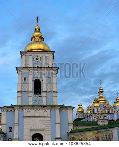 Big Blue Orthodox Cathedral With Golden Domes