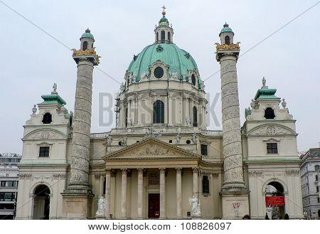 Austria, Vienna, 10 October 2012: Old catholic Karlskirche church on background blue sky