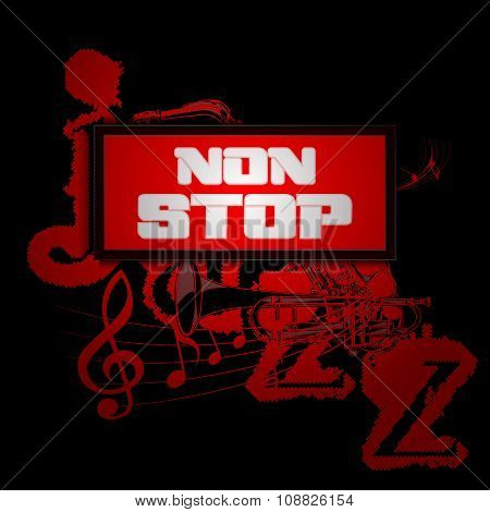Sign Non-stop Music With Trumpet And Saxophone Jazz
