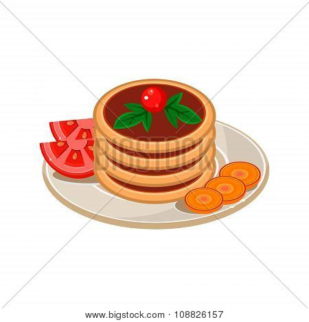 Pancakes with Tomato. Vector Illustration