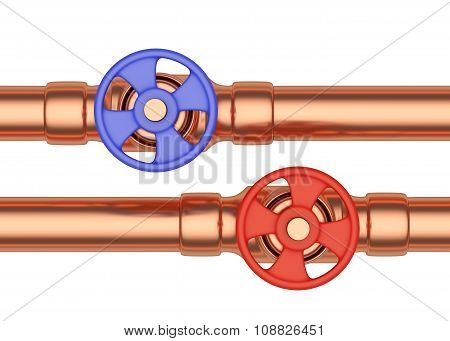 Blue And Red Valves On Copper Pipes Front View