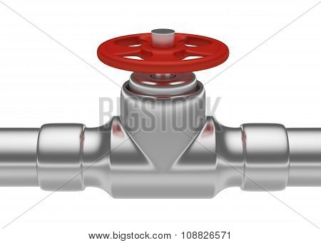 Red Valve On Steel Pipe
