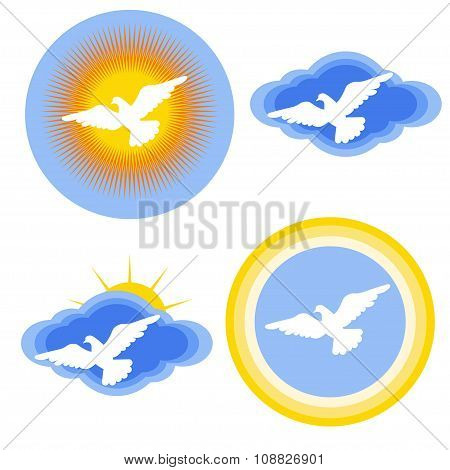 White Dove Stickers Set
