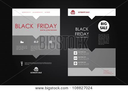 Set of brochure, poster design templates in sale style