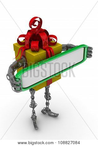 Self-propelled gift box with a blank sign